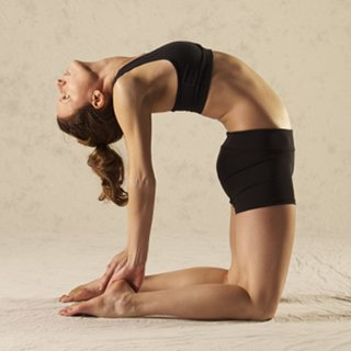 Amber in camel pose